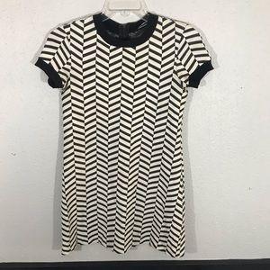 Zara a Black & White Chevron 70's Inspired Dress